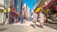 Time-lapse: Pedestrians crowded shopping at Ameyoko Market Ueno Tokyo video