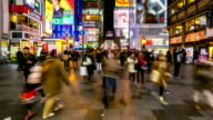 HD Time-lapse: Pedestrians shopping at Namba Dotonbori Osaka night video