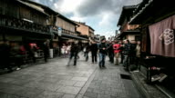 HD Time-lapse: Pedestrians Tourists shopping Gion district in Kyoto, Japan video