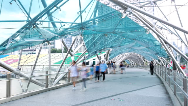 HD Time-lapse: People Crowd at Pedestrian bridge in Singapore video