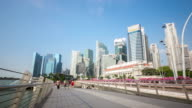4K Time-lapse: People Crowd at Pedestrian bridge in Singapore video