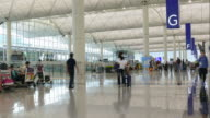 time-lapse people crowded at Hong Kong airport video