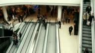 Timelapse people flow on escalators video
