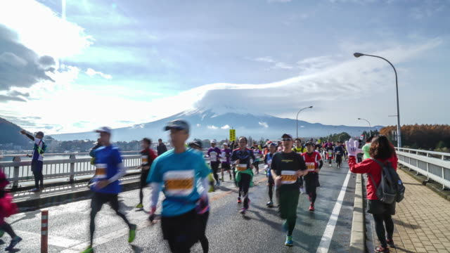 timelapse people marathon with Mountain Fuji video