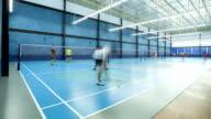 Timelapse people play badminton video