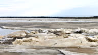 Time-lapse photography ice drift on the Siberian river video