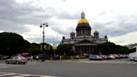 time-lapse photography of St. Petersburg Isaac Cathedral and Monument to Nicholas 1st, large number of tourists in St. Petersburg video