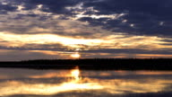 time-lapse photography of sunset over the river on the Yamal Peninsula video