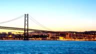 HD Timelapse: Porte 25 de Abril bridge Tagus river Lisbon video