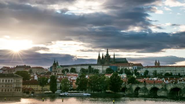 4K Time-lapse: Prague cityscape with Vltava river Czech republic video