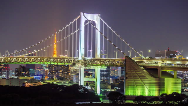 Timelapse rainbow bridge and tokyo tower at sunset video