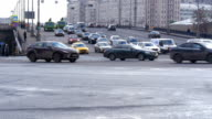 Timelapse. Rapid movement of cars on city streets. On a sunny day. Big wide road video