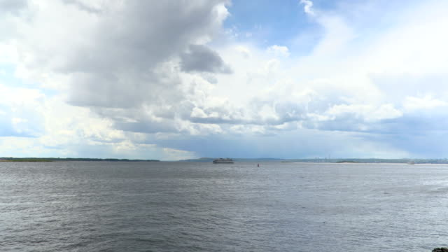 Time-lapse recording of clouds over the Volga river on a summer day. Russia, city Saratov. Footage, clip, video in 4K video