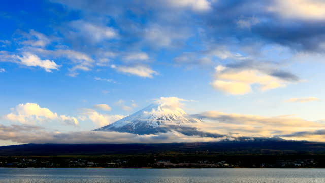 Timelapse rolling clouds over Mt.Fuji at sunset, Japan video