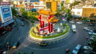 HD Time-lapse: Rush Hour street Gateway Arch Odeon Chinatown Bangkok video