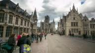 time-lapse: Saint Nicholas Church Ghent ancient town Belgium video