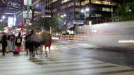 Time-lapse Sequence Of Traffic At Night In Times Square NYC video