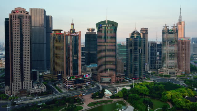 4K Time-lapse: Shanghai Lujiazui Office Building, Panning video