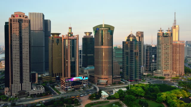 4K Time-lapse: Shanghai Lujiazui Office Building video