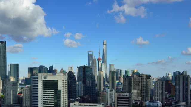 Time-lapse: Shanghai Skyline at Sunny Day (Zoom In) video