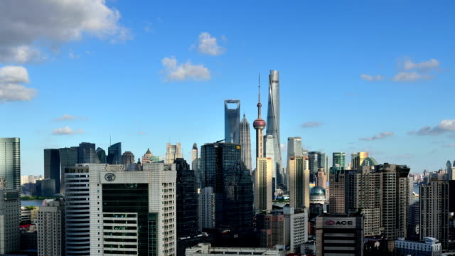 Time-lapse: Shanghai Skyline at Sunny Day, Zoom In video