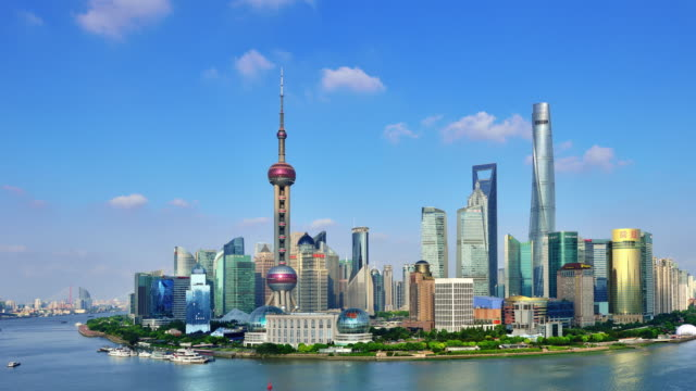 4K Time-lapse: Shanghai Skyline Panoramic video