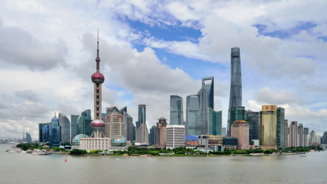 4K Time-lapse: Shanghai Skyline Panoramic video