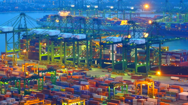 Time-Lapse shipping port cargo at singapore city video