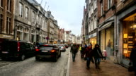 HD time-lapse: Shopping street Historic town at Bruges Belgium video