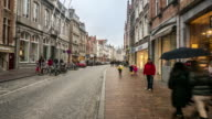 time-lapse: Shopping street Historic town at Bruges Belgium video