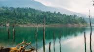 Timelapse shot, Beautiful scene in the morning of lake in Chantaburi, Thailand video