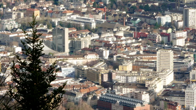 Time-lapse shot of Biel/Bienne, the watch-making capital of Switzerland, showing details of city center buildings and traffic video