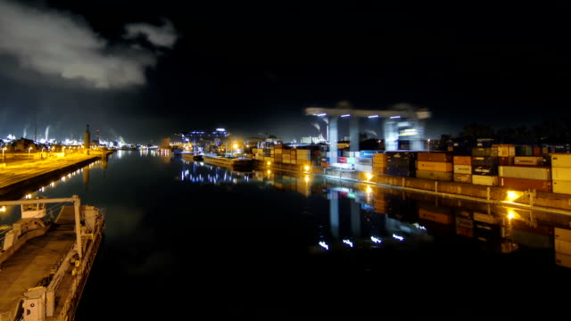 Timelapse shot of harbor, port, logistics video