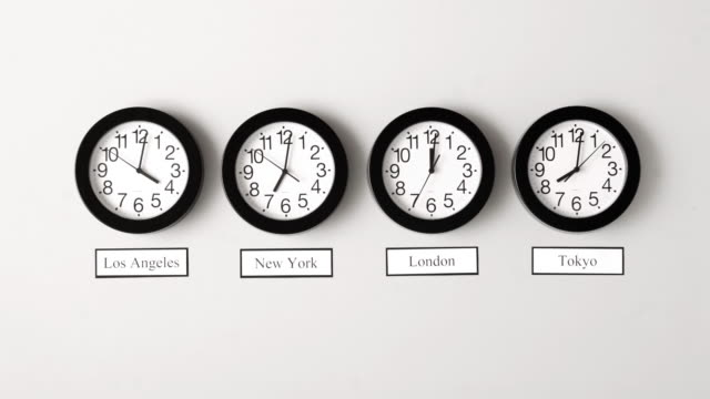 Timelapse shot of various time zone clocks video