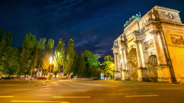 4K Time-lapse: Siegestor Victory Arch Munich Germany at dusk video