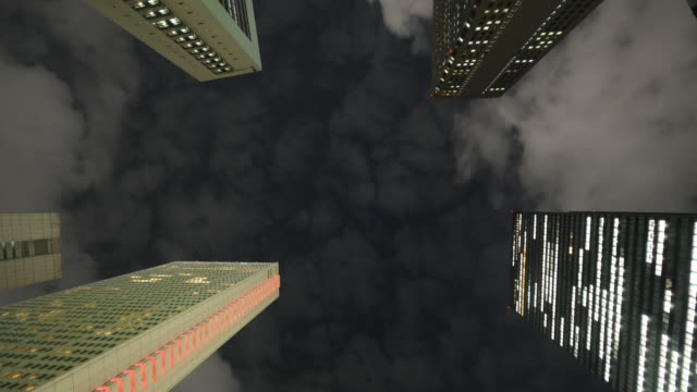 Timelapse - Skycrapers at night with clouds video