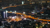 timelapse: Skyscrapers and traffic night lights over the city. Baiyoke bangkok view video