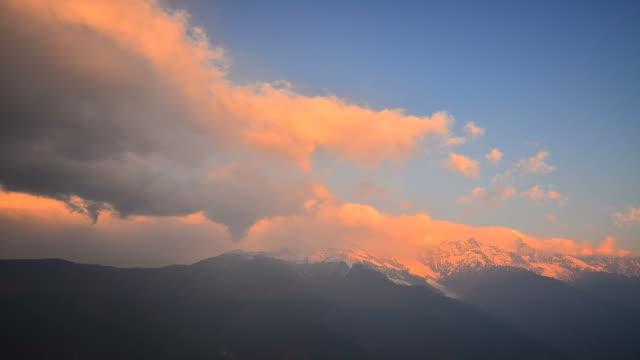 Time-lapse: Snow Mountain Landscape at Sunrise video
