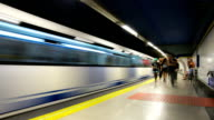 HD Time-lapse: Subway platform in Madrid Spain video