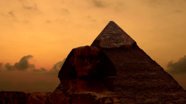 Timelapse. Sunrise over the pyramid of Cheops and Sphinx. Giza Egypt. v.1 video
