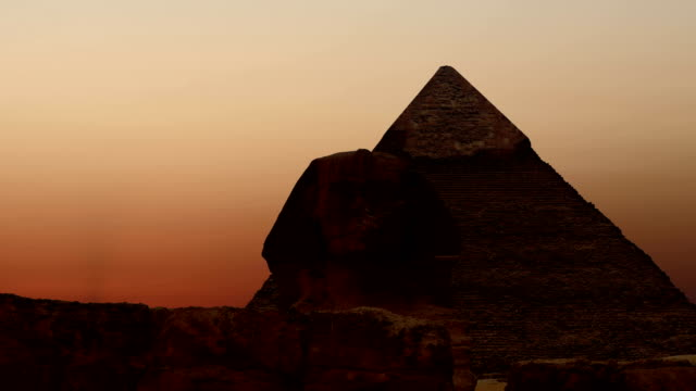 Timelapse. Sunrise over the pyramid of Cheops and Sphinx. Giza Egypt. v.2 video