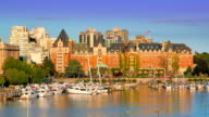 Timelapse Sunset of Victoria BC Canada, British Columbia City Inner Harbour video