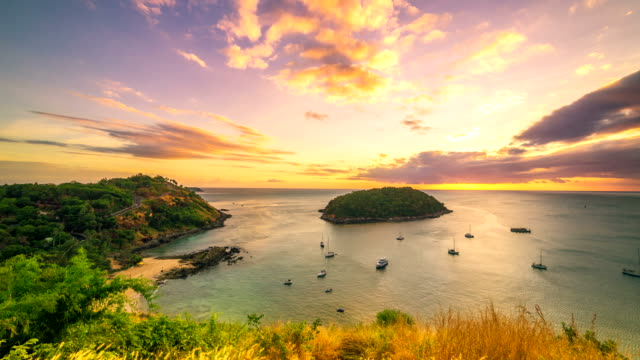 4K TimeLapse. Sunset on the background Island in the sea bay with cape at Phuket Island, Thailand. January, 2016. video