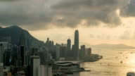 4K time-lapse : Sunset over Victoria Harbor at Victoria Peak, Hong Kong video