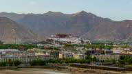 4K Timelapse Sunset Scene of Potala Palace, Tibet, China video