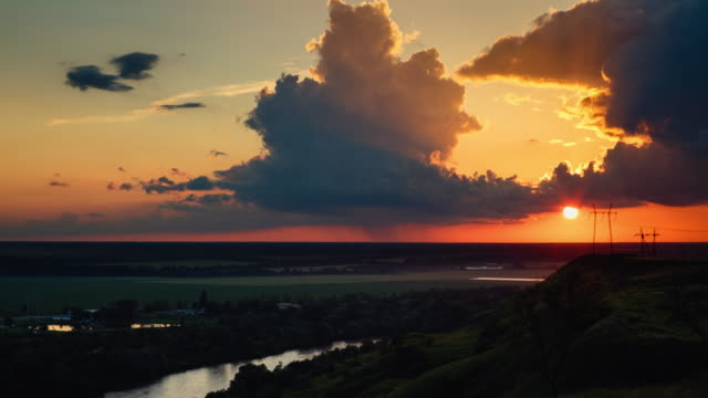 timelapse sunset with clouds video