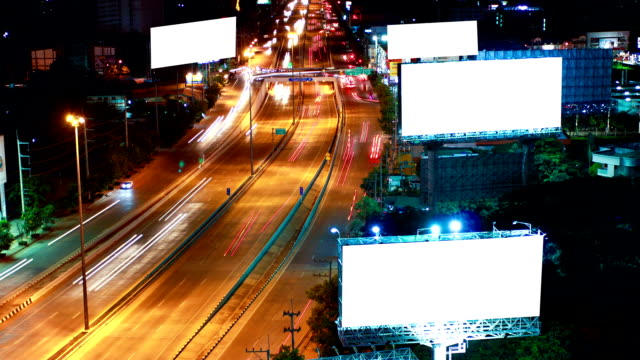 Timelapse super highway with green screen billboard video