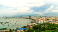Time-lapse: Thailand famous landscapes south Pattaya city bay on top view. video