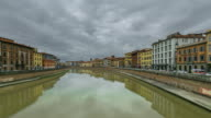 Time-lapse: The Arno river, Ponte di Mezzo bridge, Pisa Italy, Europe. video