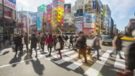 4K Time-lapse : The video game district in Akihabara in tokyo. Akihabara gained the name Akihabara Electric Town for being a major shopping center for household electronic goods. video